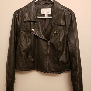 bar III cropped pleather jacket